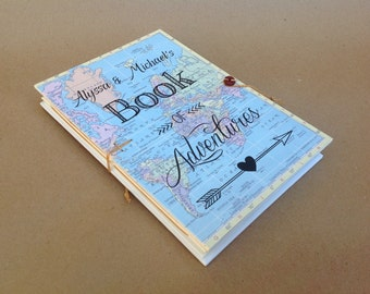 Personalized Boyfriend Gift - Valentines Day Travel Gift - Engagement Gift - Adventure Book - Travel Journal with Pockets & Envelopes