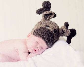Crocheted Newborn Baby Moose Hats, Infant Moose Hat, Toddler Moose Hat, Newborn Photo Prop, crochet moose hat, newborn moose hat, photo prop
