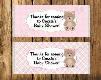 Printable Pink Teddy Bear Girl Baby Shower Large Candy Bar Wrappers