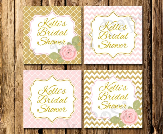 Free Printable Wedding Gift Tags: Items Similar To Printable Pink And Gold Rose Bridal