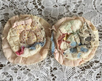 2 upcycled fabric flowers, cottage chic flower, gift top, lot flower supplies scrap flowers shabby upcycled quilt flower scrap appliques #38