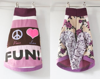 italian greyhound COURTNEYCOURTNEY peace love purple pattern print upcycled jersey tshirt outfit top mix fun times exciting floral
