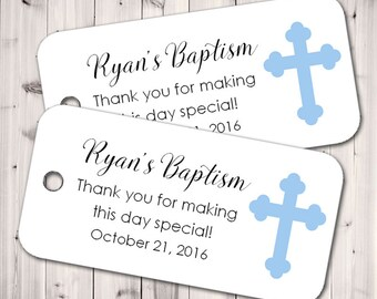 Baby Baptism Tags, Favor Tags, Personalized Tags, Christening Tags, Gift Tags, Party Favor- Set of 20