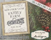 Christmas SVG - You Personalize It with Your Family Name - Old Truck and Christmas Tree SVG - Commercial Use SVG - svg, dfx, png, jpg