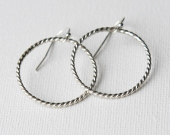 Sterling Silver Hoop Earrings, Twisted Wire Earrings, Silver Hoops, Round Sterling Earrings, Gift for Women, Jewellery Gift