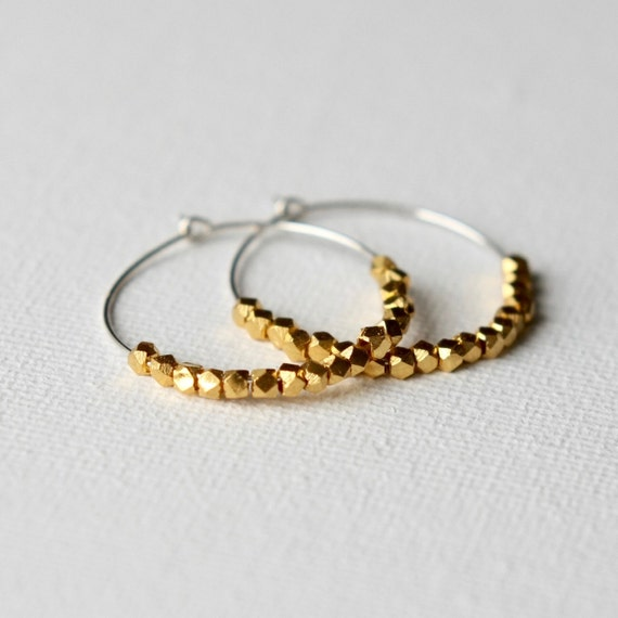 Faceted Gold Vermeil Hoop Earrings, Gold Nugget Earrings, Small Silver Hoop Earrings, Mixed Metal Jewelry, Jewellery Gift for Women