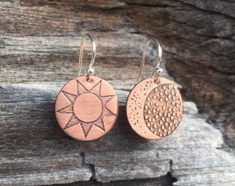 Sun and Moon Earrings - Copper & Sterling Silver - Mismatched Earrings -Moon Phase Crescent - Hand Drawn Etched Moon and Sun Jewelry