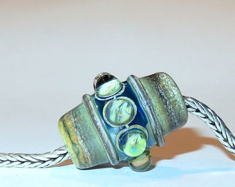 Luccicare Lampwork Bead - Antique - FOCAL - Lined with Brass