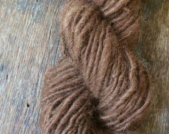 Natural brown alpaca handspun yarn, undyed handspun yarn, 74 yards, super soft single ply yarn, perfect for weaving, knitting, doll hair