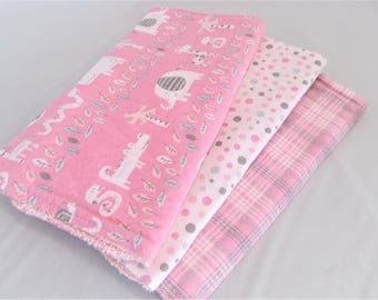 Burp Cloth Gift Set for Baby Girl  - Modern Essentials - Pink and Gray Jungle Trio - Set of 3 Burp Rags Safari Print, Dots and Check