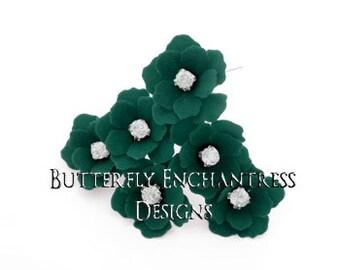 Green Wedding Hair Flowers, Beach Bridal Hair Accessories, Mother Bridesmaid Favor Gift - 12 Dk Green Mini Buttercup Hair Pins - Rhinestone