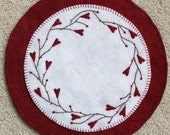 Large Wool Candle Mat Penny Rug with Vines and Hearts