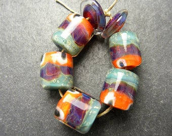 CrazyCatGlass Lampwork Boro Glass Beads Handmade Tropics Barrels
