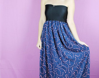 Heart Maxi Dress, Valentines MAXI Dress, Pink Blue HEART Dress, Maxi Heart Dress, Handmade Heart Maxi, Long Heart Dress