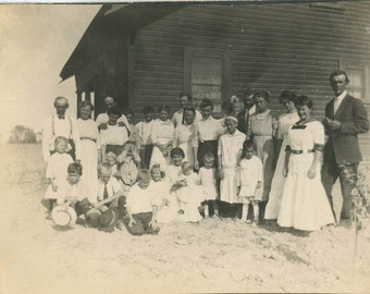 vintage photo 1910 One Room School House Teacher Students on Prairie