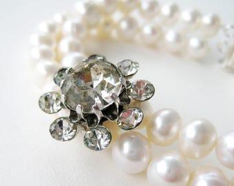 Rhinestone Flower Pearl Bracelet, White Pearl Double Strand Wedding Bracelet, Vintage Clear Rhinestone Silver Bridal Jewelry, Handmade, Ella