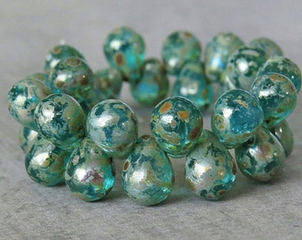 Aqua Picasso Czech Glass Bead 8x6mm Teardrop: 30 pc Full Strand Blue Tear Drop Beads