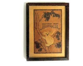 Antique Australia Koala Bear Art - Vintage Wall hanging Print in Frame - Brown Wooden Postcard Greeting Card