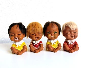 4 Vintage Rubber Emotion Dolls, 70s Sassy Funny Face Dolls of all Nations, Small Cutie Doll Lot, Anekona Hawaii, Iwai Industries 1970s