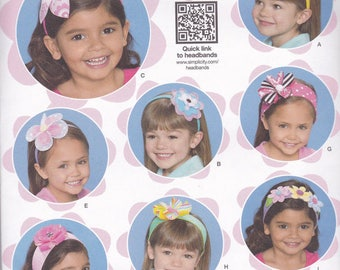 Simplicity 1820, sewing pattern,  Girl's Headband and Hair Accessories , new, Uncut