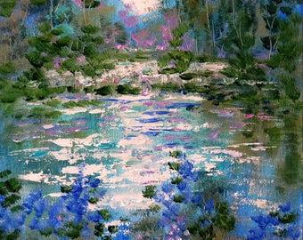 Original oil painting impressionist - Moonlit Pines and stream - 8 x 10