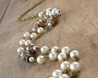 Rustic Wedding - Vintage Style Necklace - Ivory Swarovski Pearl Necklace - Ivory Pearl Necklace - Outdoor Wedding - Layering Necklace