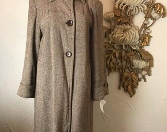1940s coat tweed coat winter coat size large brown coat flecked coat film noir coat 38 bust 40s coat