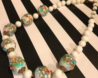 Fall sale 1940s necklace vintage necklace costume jewelry venetion glass wedding cake necklace confetti glass necklace