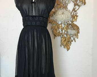 RESERVED 1950s dress sheer dress chiffon dress size medium r & k dress accordion pleated dress pin tucked dress 27 waist