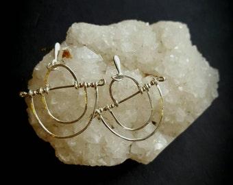 Crop Circle Earrings in Sterling Silver - stud - post