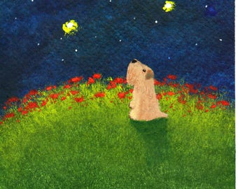 Soft coated Wheaten Terrier Dog LARGE Art Print Todd Young painting MOON GAZER