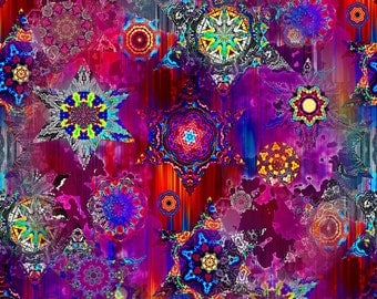 Artist Made Sateen Cotton Textile Fabric Plum Kaleidoscope Home Decor Drapery Pillow