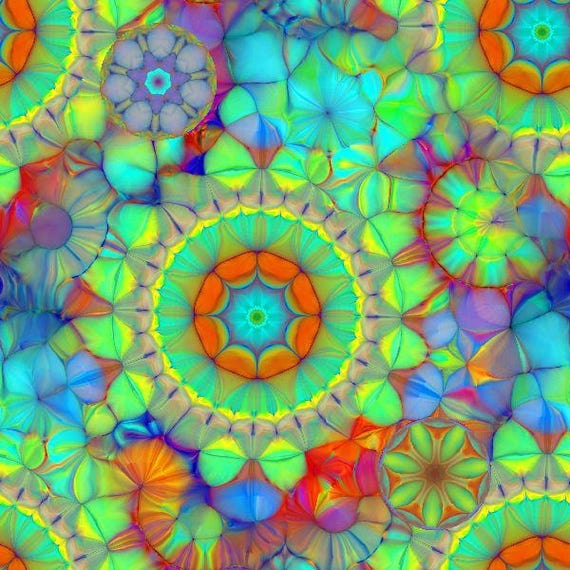 Designer Artist Hand Created Fleece Fiber Art Fabric Panel Kaleidoscope Jewels Apparel Blanket