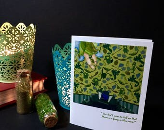 TINKER BELL blank greeting card peter pan stationary fairy pixie dust card faerie tale feet