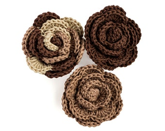 Crochet roses - 3 handmade crochet flowers in beige and brown, sew on appliques, wedding flowers, wedding decor, hand knitted flowers