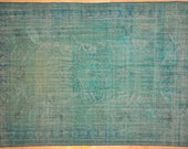 """RESERVED for  Mary Beth Maginn  Rug Overdyed Vintage Light Turquoise Blue 7'3"""" x 10'0"""""""