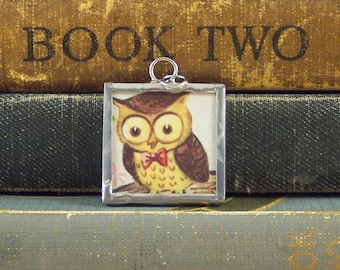 Owl Wearing Bow Tie Pendant - Hipster Owl Pendant - Soldered Pendant - Vintage Book Jewelry - Bow Tie Owl Charm - Kitschy Vintage Owl