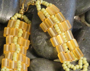 Golden Niblet and Light Olive Beaded Earrings