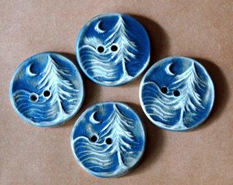 4 Handmade Ceramic Buttons - Moon over Cedar Buttons -  Rustic Denim Buttons in Stoneware - Handmade Knitting Supplies