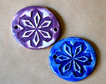 2 Handmade Ceramic Link Beads - Snowflake Cuff Beads - Bracelet Beads in Purple and Blue Glazes - Handmade Jewelry Supplies
