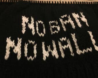 No ban no wall knitted beanie hat, protest march, resist, not my president