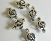 Treble Clef Spacer beads silver metalx 6