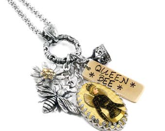 Honey Jewelry - Bee Necklace - Silver Bee Jewelry- Honey Bee - Bumble Bee Necklace