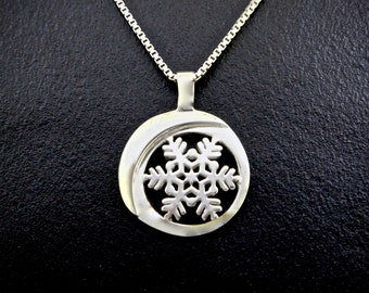 Snowflake Moon Cutaway Necklace, Sterling Silver, Recycled Eco-Friendly Silver Pendant
