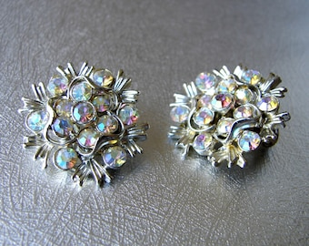 Aurora Borealis Rhinestone Clip Back Earrings 50s Vintage Costume Jewelry Floral Flower Wedding Bridal Formal Pageant Ballroom Prom Cocktail