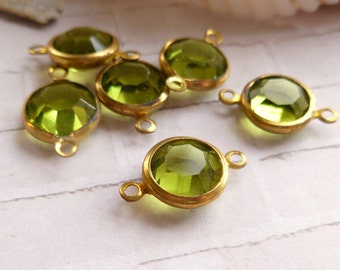 Vintage Olivine Glass and Brass Charm Connectors (49-6F-6)