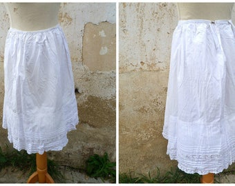 Vintage 1900 Victorian Edwardian French lace & white cotton petitcoat  skirt  XL
