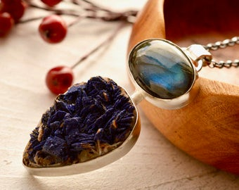 Azurite Necklace, Mineral Pendant, Druzy Necklace, 925 Sterling Silver Necklace, Labradorite Necklace, Modern Metalwork, Raw Stone Pendant