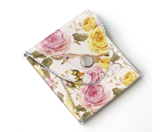 Vinyl Coin Purse - Vintage Roses 2/ floral, bird, wallet, vegan, change, snap, small, little, pocket wallet, gift, flowers, pretty, blue