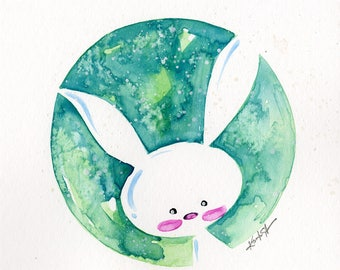 Cute Bunny Painting, rabbit, flowers, watercolor art, Rabbit Watercolor Painting Easter Minimalist Abstract art Kathy Morton Stanion